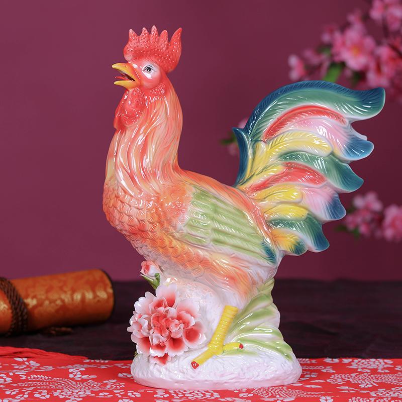 景德镇陶瓷鸡年摆件工艺品礼品吉祥物 陶瓷鸡饰品礼物生肖大公鸡商品图片