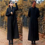 2015秋冬新款韩版修身超长款呢子大衣 加厚加长羊毛呢外套女风衣