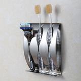 创意不锈钢牙刷架 免打孔粘贴壁挂金属牙刷座牙具架盒 非吸盘式