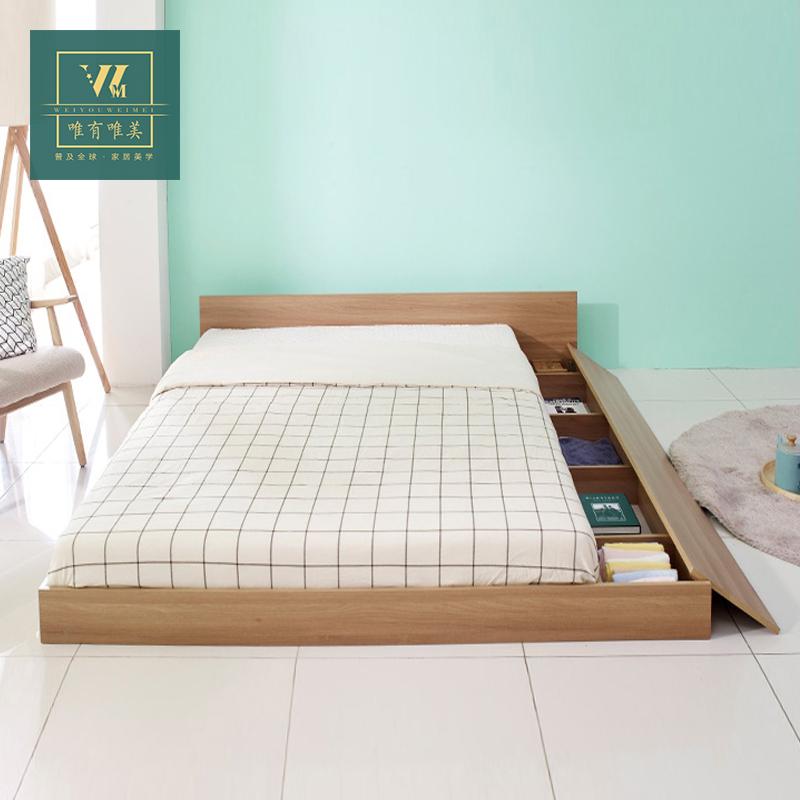 日韩式低榻榻米床矮床踏踏米日式简约双人床1.8米板式储物床图片