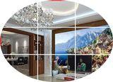 欧式3D立体壁画地中海油画风景河边小屋客厅沙发背景墙纸无缝壁纸