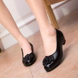 春季中老年妈妈鞋女防滑平底圆头单鞋中跟皮鞋休闲女鞋工作鞋黑色