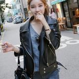 讴若缇2016春季新品春装韩版修身女皮夹克上衣PU短款机车皮衣外套