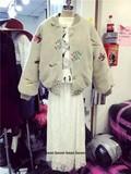 2015韩版 秋冬女百搭宽松刺绣花朵棒球款羊羔毛棉衣厚外套