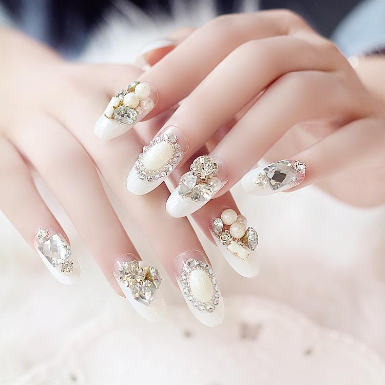 美甲用品 白色法式堆钻假指甲贴片甲片 婚纱拍照 新娘美甲商品图片图片