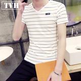 2016夏季新款条纹短袖t恤男青年韩版修身打底衫v领男士半袖体恤潮