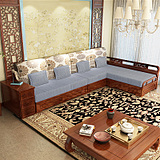 实木沙发水曲柳实木沙发现代中式实木布艺沙发客厅沙发转角组合28