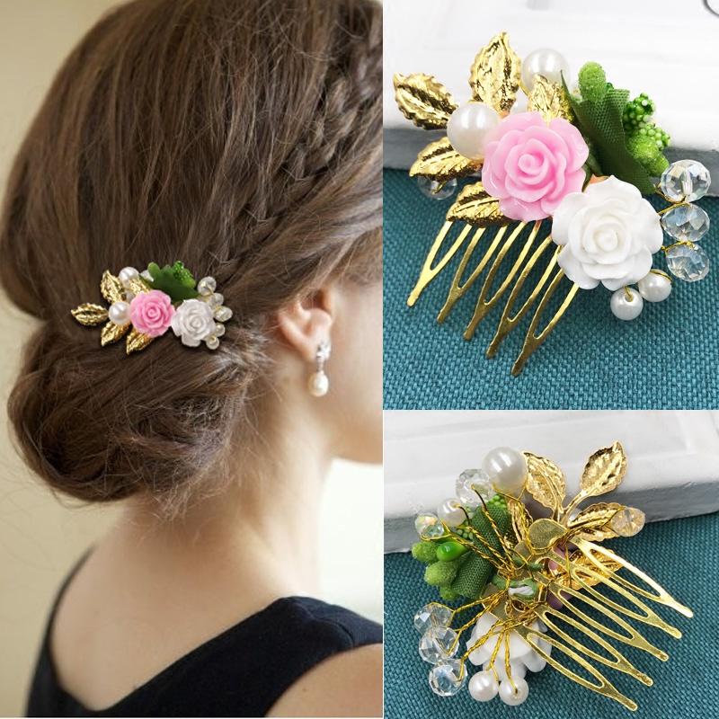 结婚新娘饰品水晶发饰头饰发箍花朵水钻盘发插梳发簪发梳发夹发卡商品图片