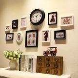 柒格子  现代简约实木照片墙 个性挂钟相框组合GZSM004包邮