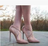 春夏OL裸色羊漆皮交叉绑带尖头单鞋浅口细高跟红色婚鞋伴娘鞋女夏