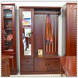 定制实木门厅柜间厅柜带抽屉 鞋柜 衣帽柜 水曲柳带穿衣镜带衣架