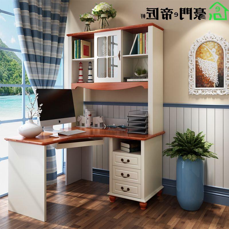 美式风格书桌椅 地中海转角学习桌 儿童家具写字桌书架实木电脑桌图片