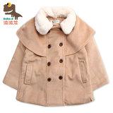 波波龙冬季新款童装欧美风双排扣女童休闲薄棉外套上衣潮