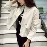 春秋韩国小皮衣女短款修身外套学生棒球服口袋女大码机车PU皮夹克
