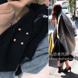 日本潮牌~时髦翻倍!西装领 廓形的腔调感!双排扣羊毛呢大衣