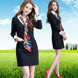 气质衬衫领连衣裙女长袖职业ol中长款韩版假两件黑色秋款修身裙子