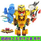 正版猪猪侠玩具变形机器人五灵锁全套之五灵守卫者五灵王合体套装