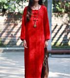 原创设计师棉麻女中式盘扣加厚提花宽松长袖秋冬连衣裙袍子民族风