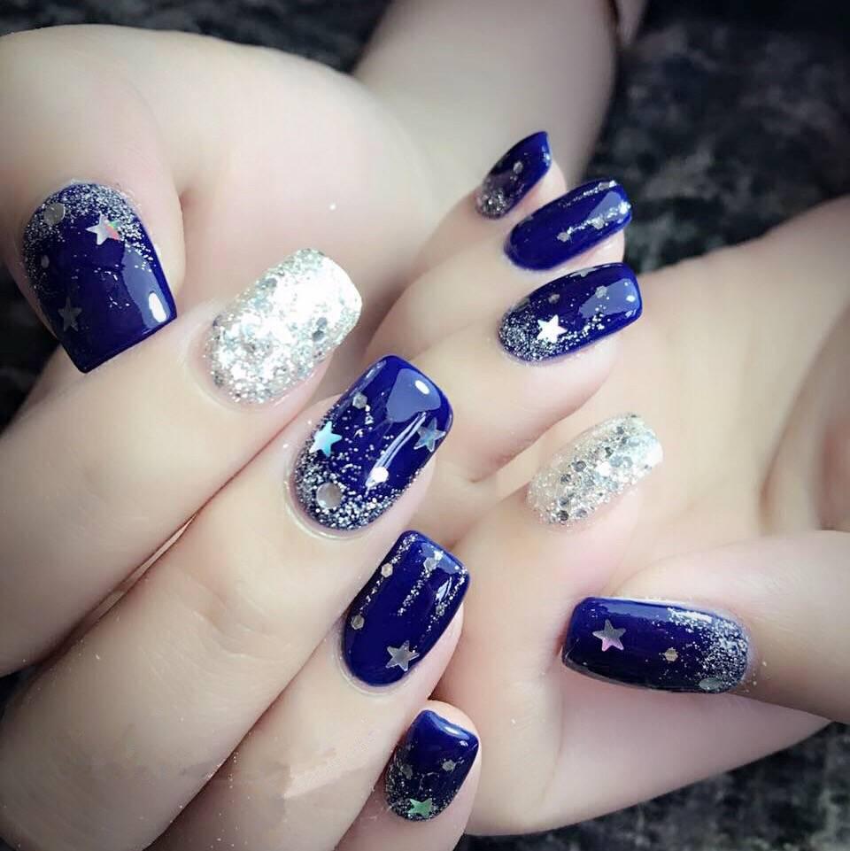 宝兰银色五星空手工光疗美甲成品 假指甲贴片手指甲片短款包邮商品图片