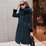2015新款高端澳洲进口皮毛一体女大衣中长款真皮草外套女修身连帽