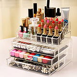 超大号透明抽屉式化妆品收纳盒 组合亚克力收纳化妆盒 桌面收纳柜