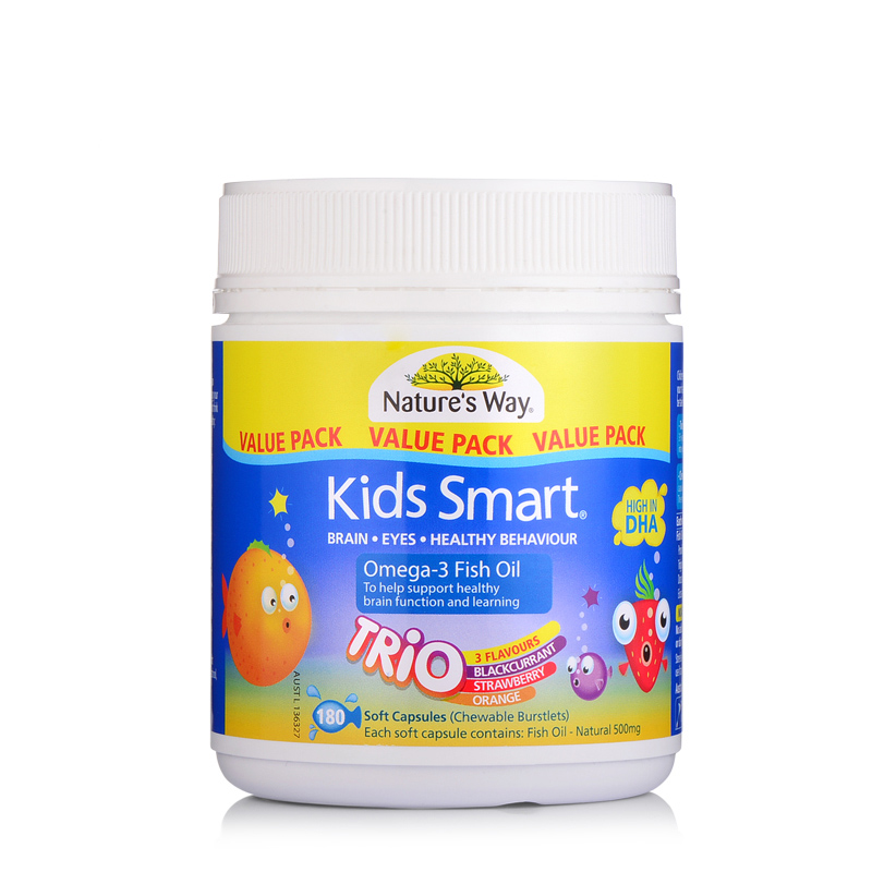 澳大利亚Nature's Way Kids Smart佳思敏儿童咀嚼鱼油180粒