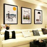 客厅有框画卧室玄关餐厅装饰画现代简约三联抽象人物卡通墙挂壁画