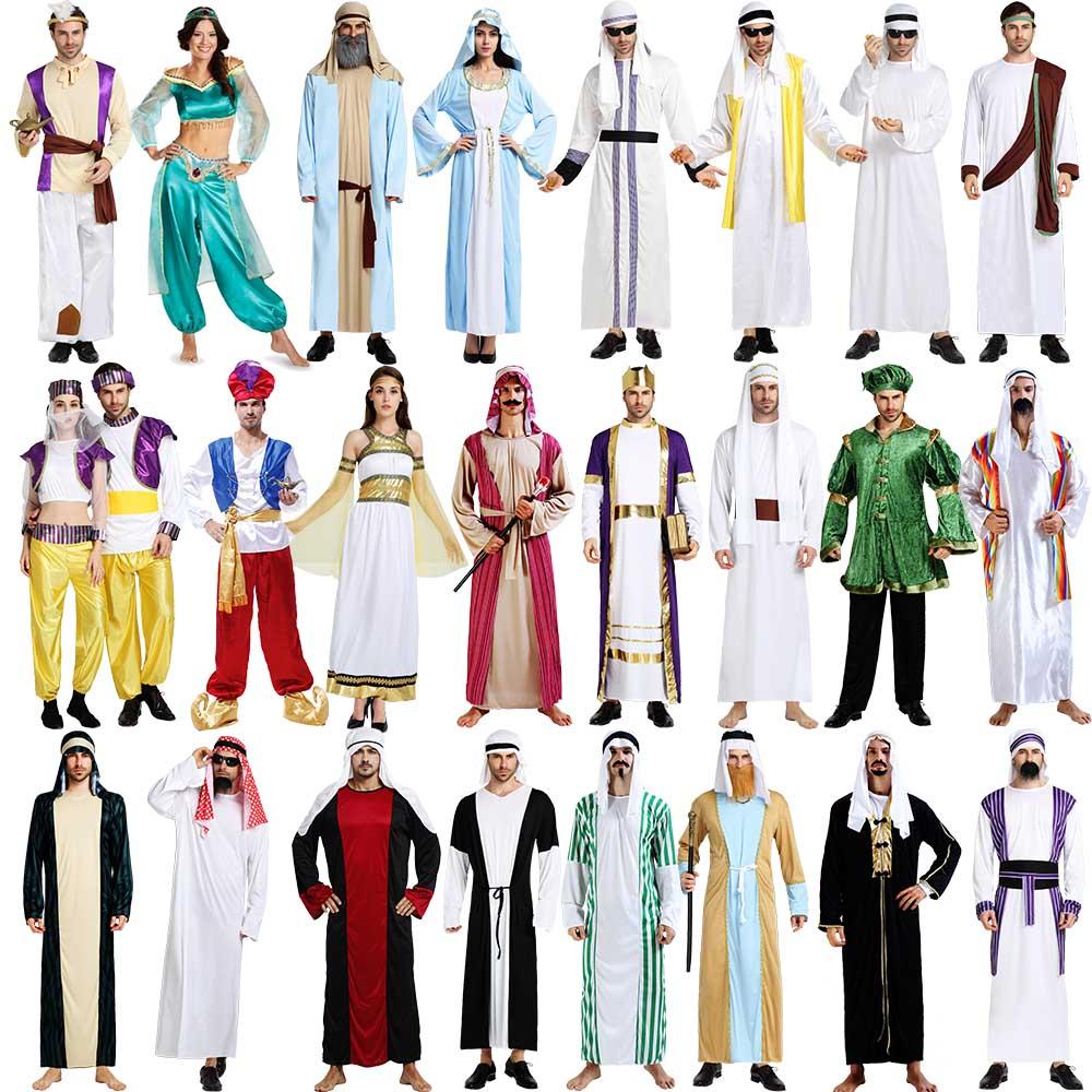 萬圣節服裝阿聯酋國王長袍成人法老男女阿拉丁神燈男女阿拉伯衣服商圖片