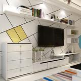 现代简约 茶几电视柜背景墙组合套装 客厅家具吊柜可伸缩白色烤漆