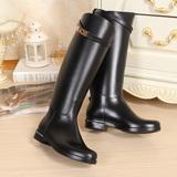韩国新款kelly金扣时尚高筒雨靴雨鞋女长筒水靴女式水鞋加绒防滑