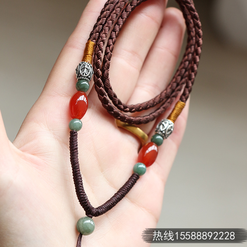 高档手工编织绳毛衣链翡翠蜜蜡吊坠挂绳男女黄金玉佩项链绳子挂绳