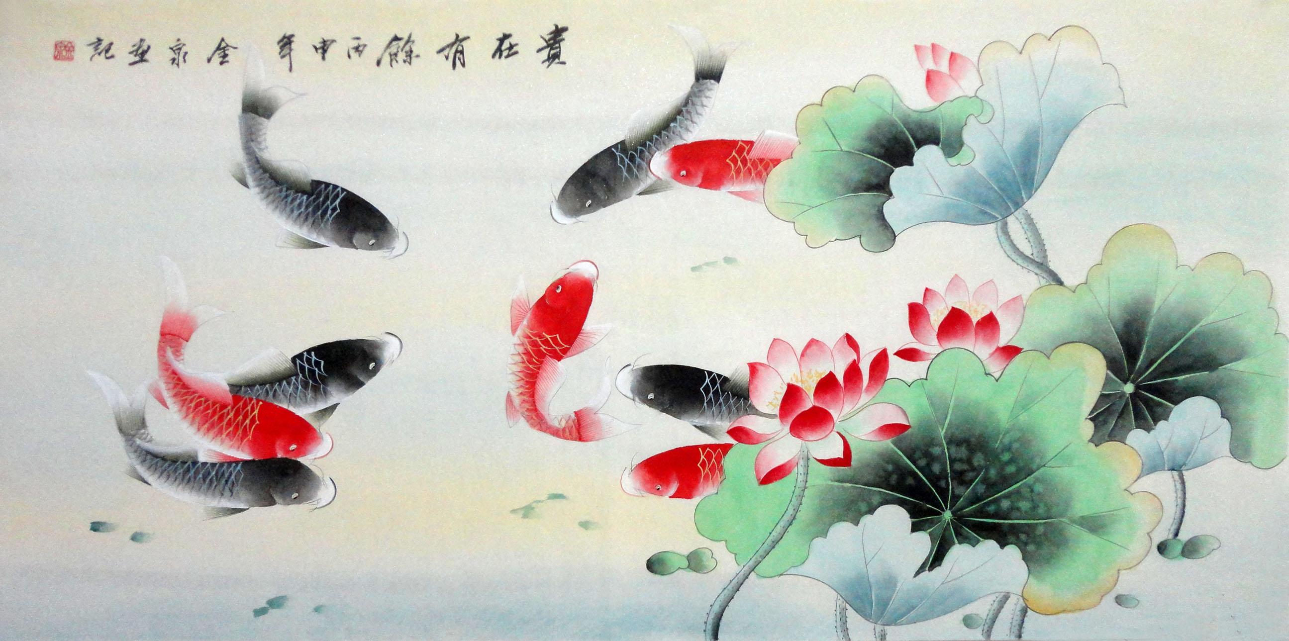 四尺国画工笔花鸟荷花九鱼 贵在有余 金泉手绘装饰字画16072050商品