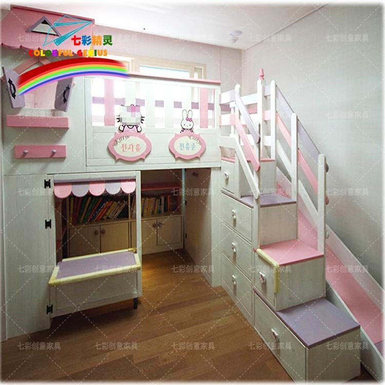 七彩精灵家具实木床房子床城堡床公主儿童树屋床创意定制儿童家具商品图片