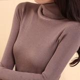 秋冬新款高领上衣外套针织衫中长款毛衣套头长袖打底衫修身女装厚