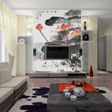 鑫雅中式玄关墙纸壁画国画水墨荷花壁纸大型无缝壁画墙布定制