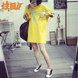 韩版秋季新款卫衣 宽松显瘦圆领百搭学生中长款T恤七分袖上衣女潮