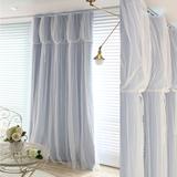 全遮光窗帘布艺 韩式田园定制窗帘成品特价纯色蕾丝客厅卧室飘窗
