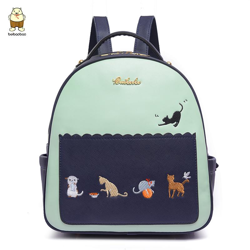 北包包2017新款双肩包可爱学生书包学院风小猫背包韩版旅行包女包商品图片