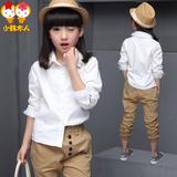 2016童装春装新款女童长袖公主衬衫韩版儿童中大童白色翻领衬衣棉