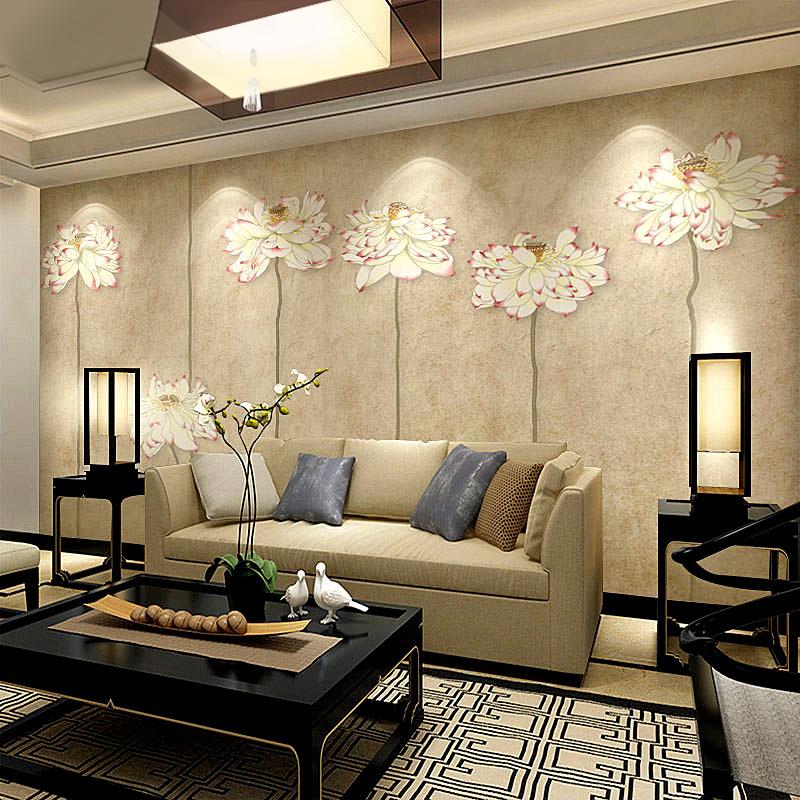 定制电视背景墙壁纸现代中式家装客厅卧室书房古典荷花墙纸布壁画商品图片