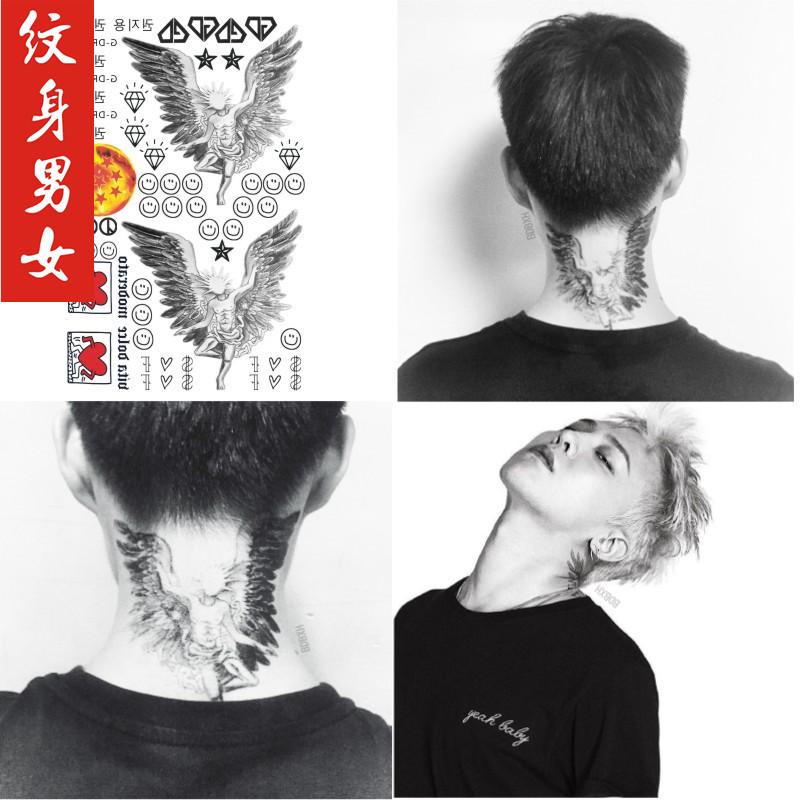 bigbang权志龙纹身贴 gd笑脸天使翅膀刺青贴纸权志龙同款跳动的商品图