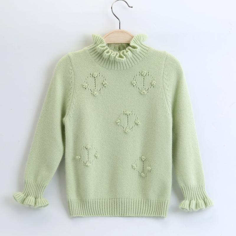 女童毛衣春秋纯山羊绒针织衫新款宝宝纯色手工编织时尚儿童羊绒衫商品图片
