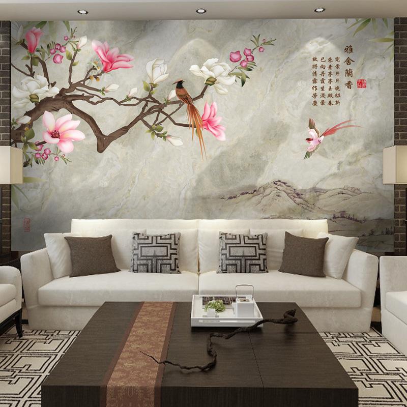 现代新中式花鸟壁纸 玉兰家装修背景影视墙客厅沙发卧室大型壁画商品图片