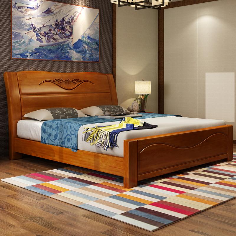 实木床现代简约复古新中式橡木床1.5米1.图片