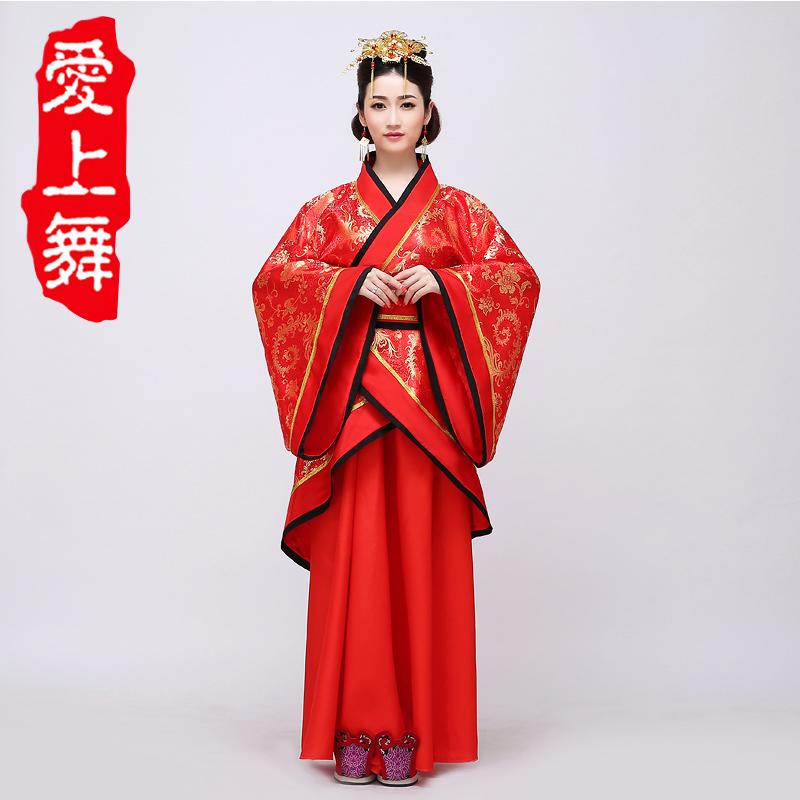 中式婚礼古代婚服红色新娘新郎嫁衣拖尾汉服男女结婚汉唐古装服装商品图片