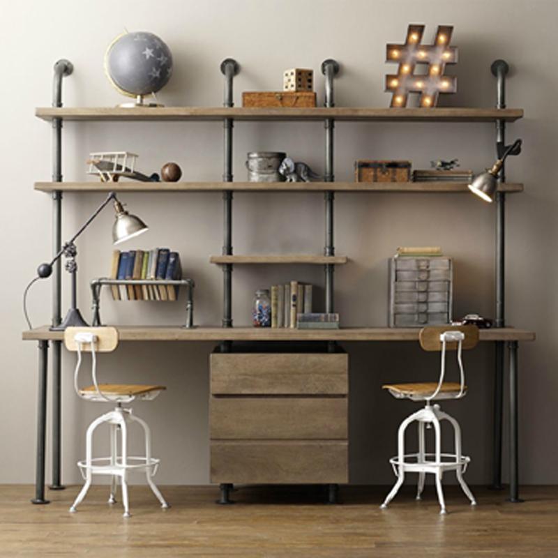 北欧loft复古铁艺书桌书架组合美式实木电脑桌创意水管置物架定制商品图片