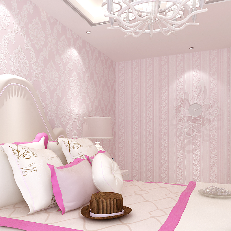 欧式无纺布大马士革墙纸3d立体大花粉色卧室客厅电视背景ab款壁纸商品图片