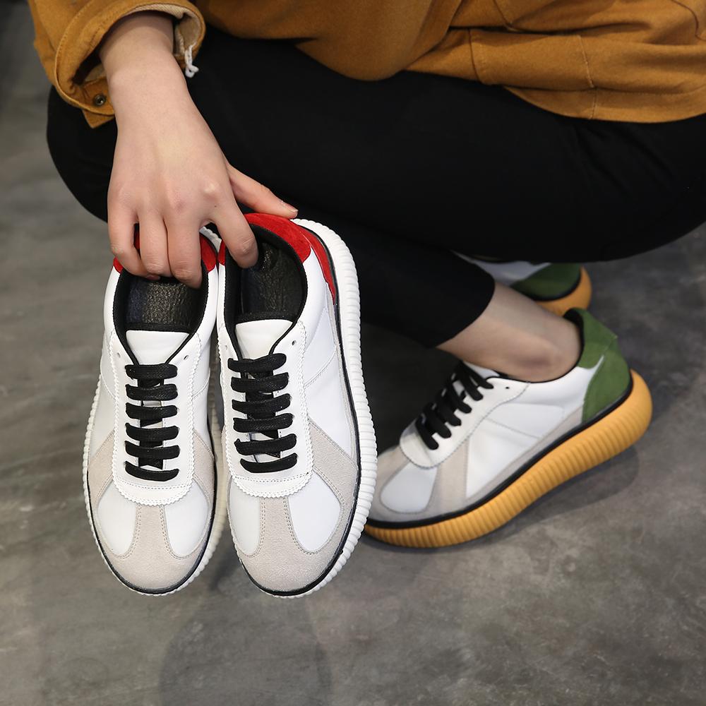 【天天特价】明星刘诗诗同款运动鞋厚底小白鞋真皮增高系带松糕鞋商品图片