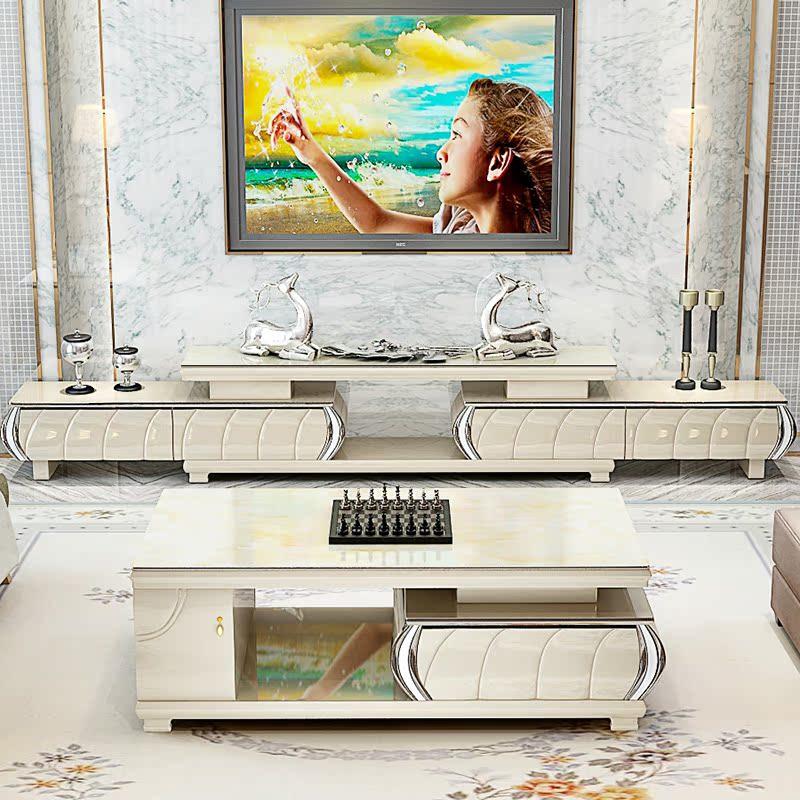 简约现代伸缩电视柜 茶几套装 简欧影视柜 钢化玻璃 四抽储物地柜商品图片
