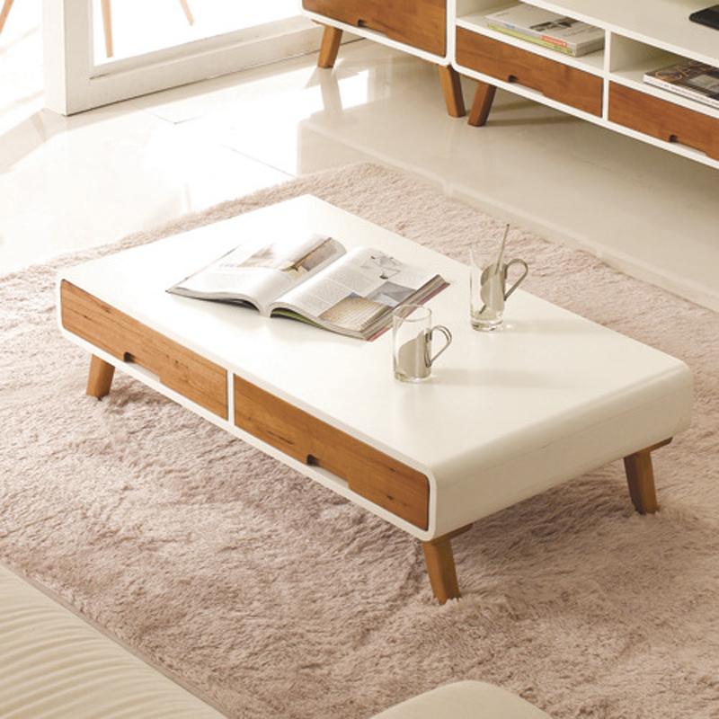 秀舍茶几白色烤漆现代简约小户型客厅实木茶几桌北欧宜家创意时尚商品图片